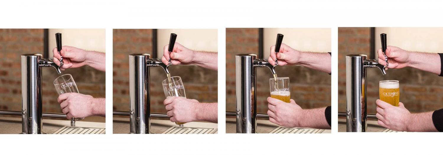 Pouring a pint of draft beer
